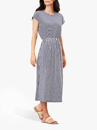 Joules Alma Striped Jersey Dress, Cream/Navy