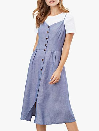 Joules Abby Button Through Dress, Blue