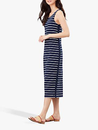 Joules Riva Striped Midi Sleeveless Jersey Dress, Navy/Cream