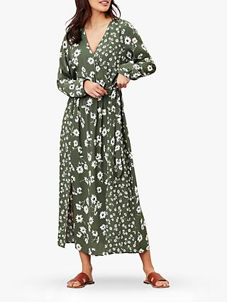 Joules Chloe Daisy Print Fixed Wrap Dress, Green