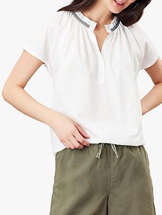 Joules Lia Pop Over Blouse, Chalk