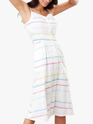 Joules Abby Button Through Striped Dress, White/Multi