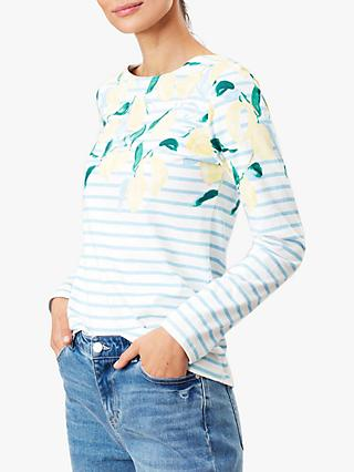 Joules Harbour Floral Stripe Jersey Top, Lemon