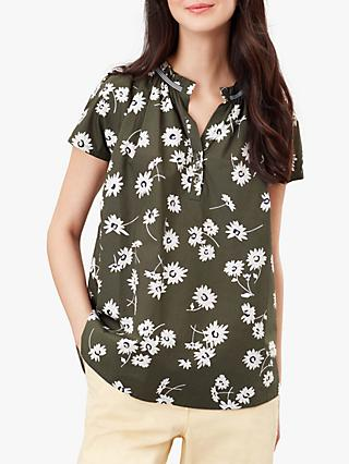 Joules Lia Pop Over Floral Blouse, Green