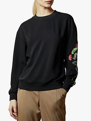 Ted Baker Krina Highland Embroidered Sweatshirt, Black