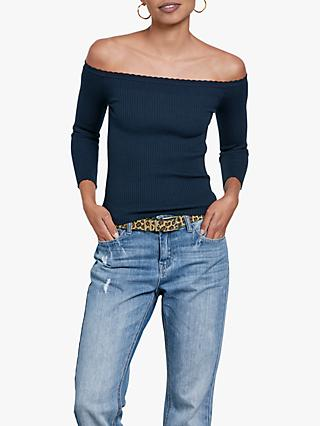 hush Darcey Off Shoulder Ribbed Top, Midnight