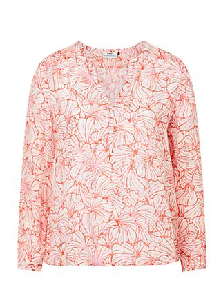 Pyrus Lucy Shell Print Blouse, Pink/Red