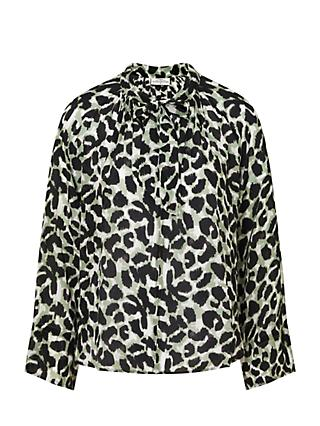 Pyrus Anais Animal Print Tie Neck Blouse
