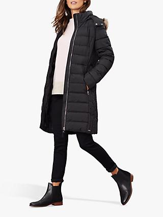 Joules Holmbury Long Padded Coat, Black