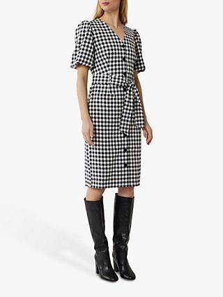 Warehouse Gingham Puff Sleeve Dress, Black Pattern