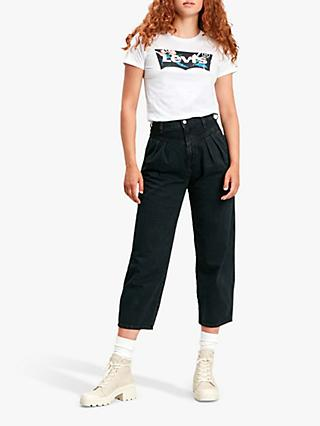 Levi's The Perfect Batwing Logo T-Shirt, White/Black Tropical