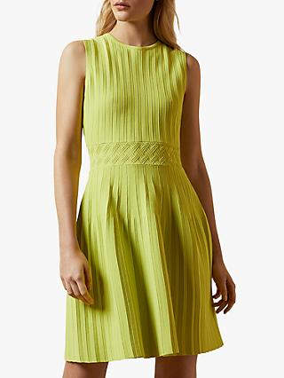 Ted Baker Balieey Sleeveless Knitted Skater Dress, Lime