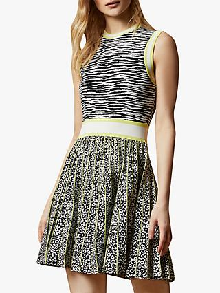 Ted Baker Lebiiey Animal Print Mini Dress, Natural Ivory