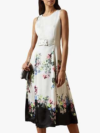Ted Baker Camylle Floral MIdi Dress, Natural Ivory