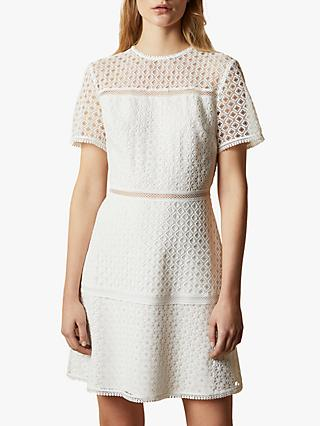 Ted Baker Allara Short Sleeved Lace Mini Dress, Natural Ivory