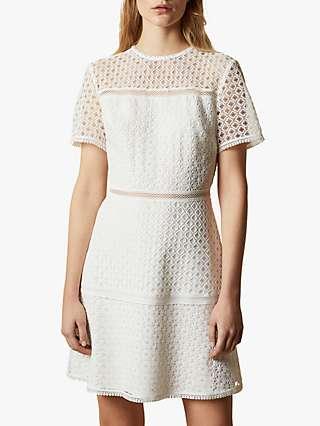 Ted Baker Allara Short Sleeved Lace Mini Dress, Natural Ivory