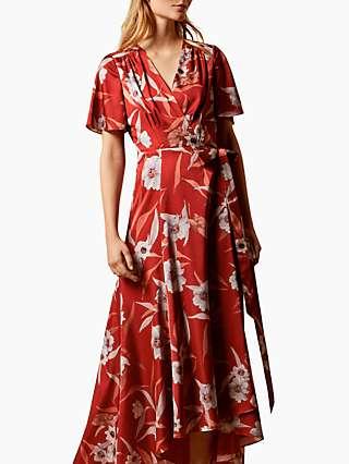 Ted Baker Errika Cabana Dip Hem Floral Print Maxi Dress, Dark Brown