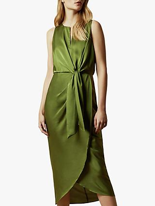 Ted Baker Pohshan Knotted Waist Midi Wrap Dress, Khaki