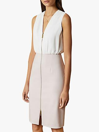 Ted Baker Annise Zip Front Pencil Dress, Light Pink