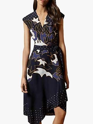Ted Baker Saretti Asymmetric Hem Dress, Navy/Multi