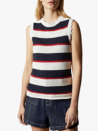 Ted Baker Bonayy Crochet Striped Sleeveless Top, Natural Ivory/Navy