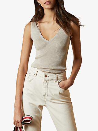 Ted Baker Niyalia Skinny Ribbed V-Neck Top, Natural Cream