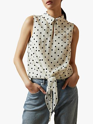 Ted Baker Caii Spotted Tie Waist Blouse, Ivory