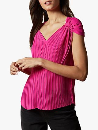 Ted Baker Chasta Stripe Top, Hot Pink