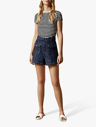Ted Baker Avveri Striped T-Shirt, Multi/Navy Blue