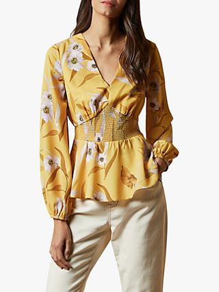 Ted Baker Saniyah Floral Blouse, Mid Yellow