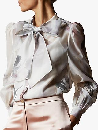 Ted Baker Mirta Floral Pussy Bow Blouse, Ivory