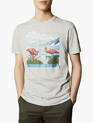 Ted Baker Lighta Tropical Bird Graphic T-Shirt, Grey Marl
