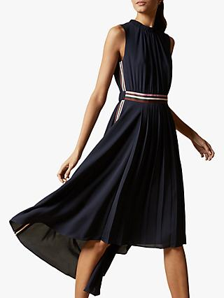 Ted Baker Damsia Sleeveless Dip Hem Midi Dress, Navy