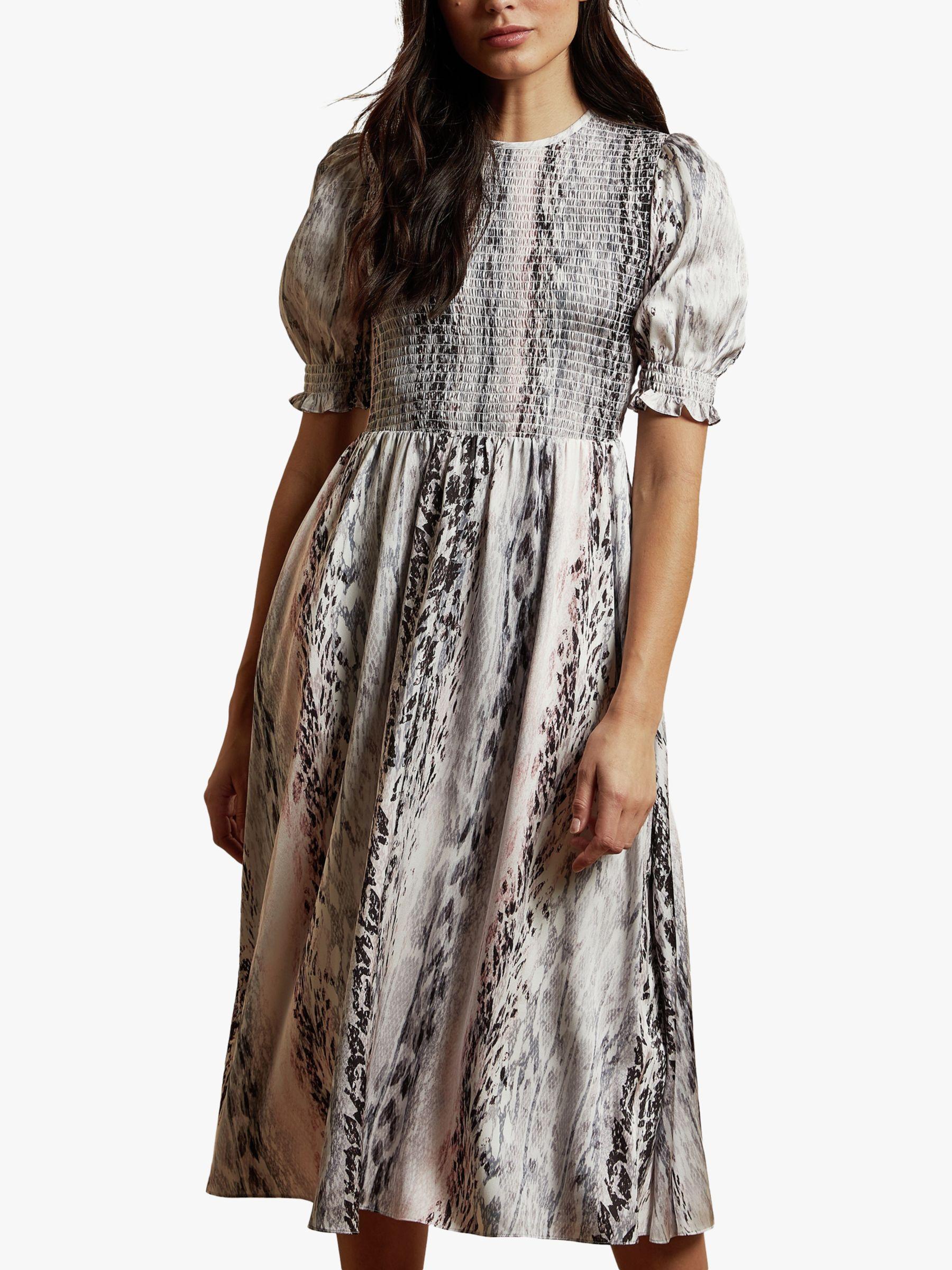 AUTH Ted Baker HALOMAH Snake Print Short Sleeve Midi Dress Ivory Size 3,4