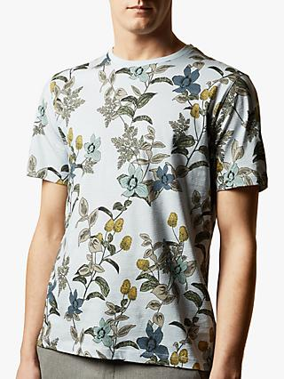 Ted Baker Geeza Floral Jersey T-Shirt, Mid Blue