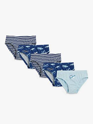 John Lewis & Partners Boys' Shark Print Briefs, Pack of 5, Blue