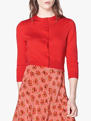 L.K.Bennett Ella Merino Wool Cropped Cardigan, Red