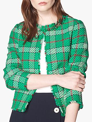 L.K.Bennett Lowri Check Tweed Jacket, Green/Multi