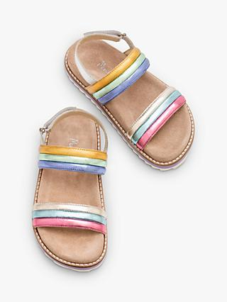 Mini Boden Children's Rainbow Padded Sandals, Multi Rainbow