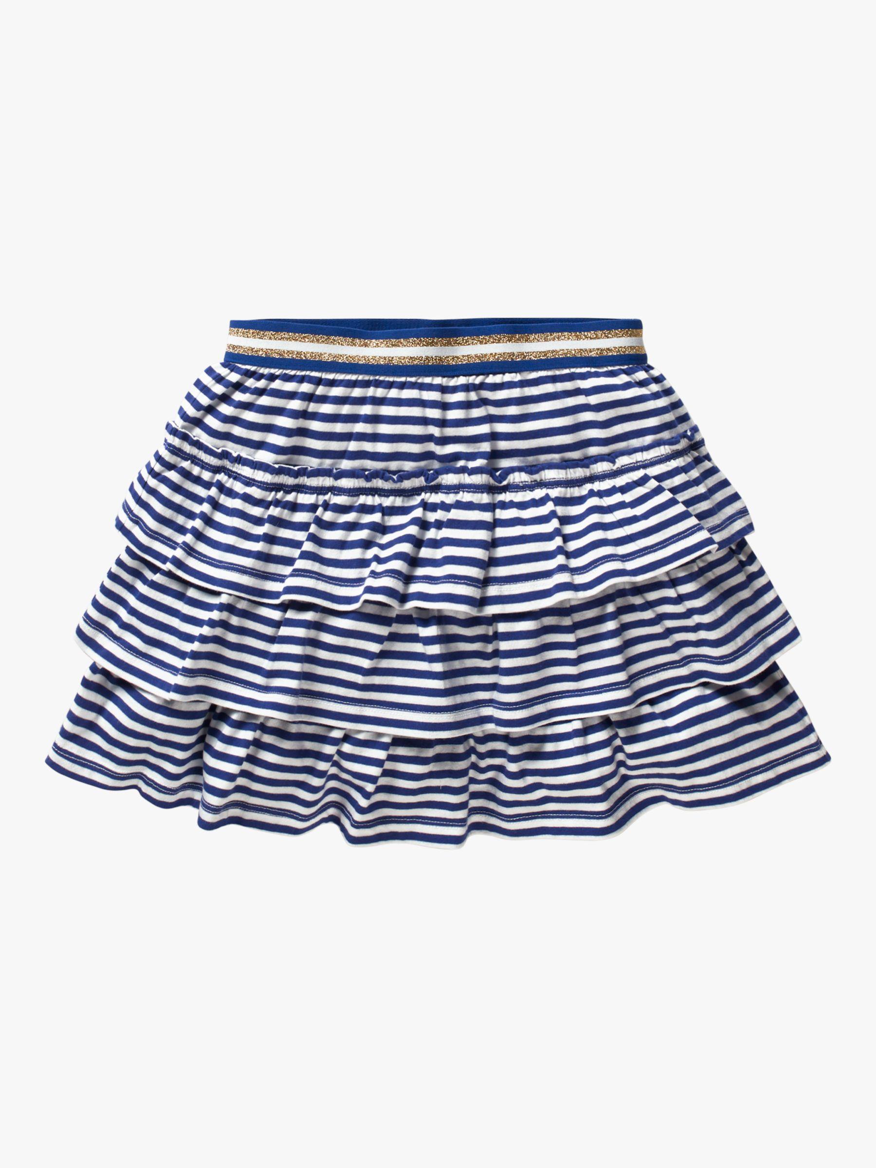 Mini Boden Mini Boden Girls' Jersey Stripe Ruffle Skort, Indigo Navy/White