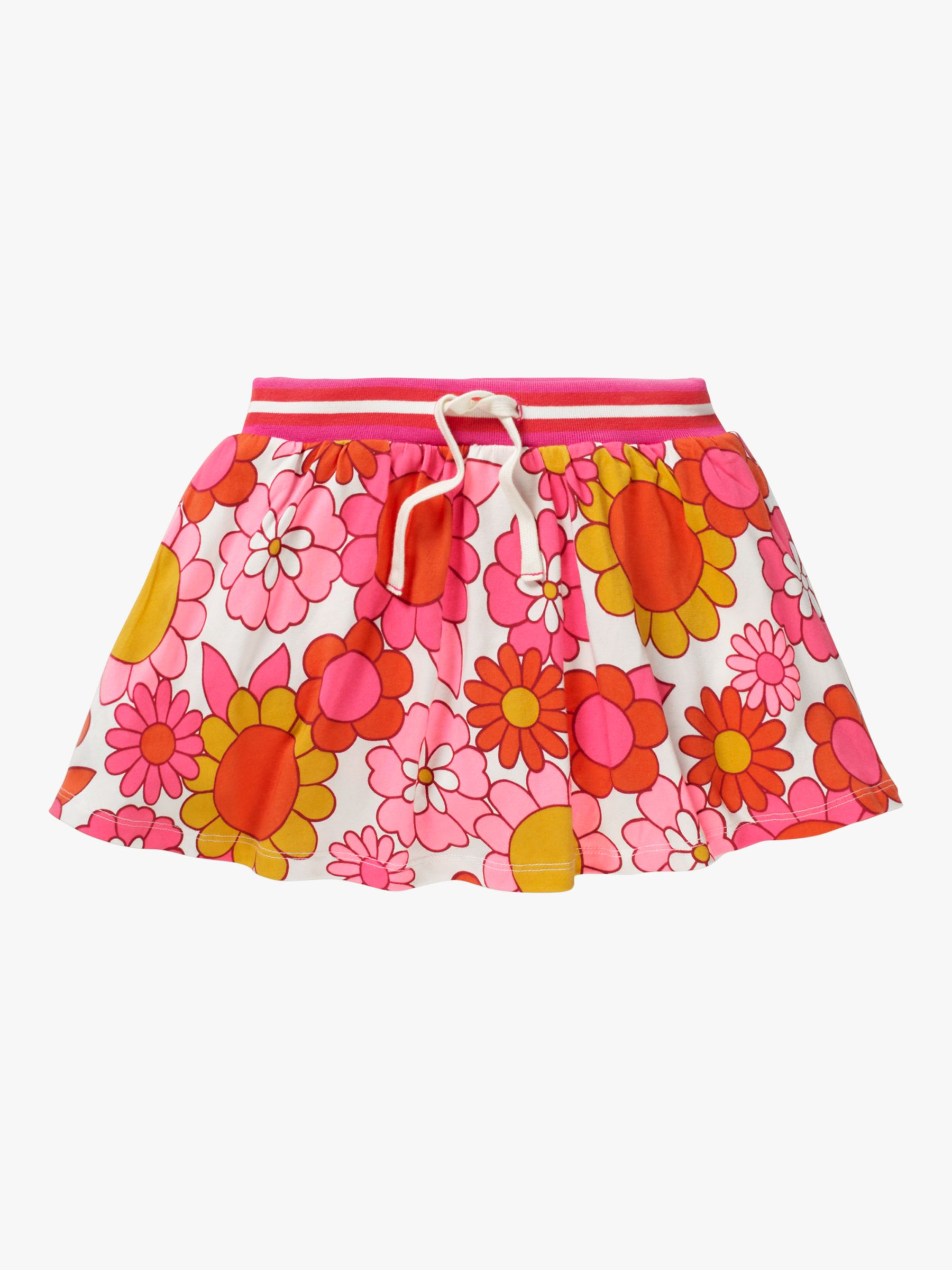 Mini Boden Mini Boden Girls' Retro Floral Jersey Skort, Pink/White