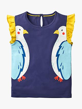 Mini Boden Girls' Flutter Bird T-Shirt, Indigo Navy
