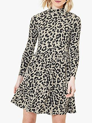 Oasis Animal Print Skater Dress, Natural/Multi
