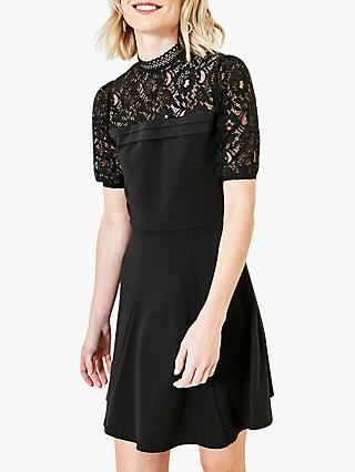 Oasis Lace Pintuck Dress, Black