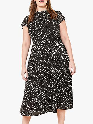 Oasis Curve Daisy Midi Dress, Black/White