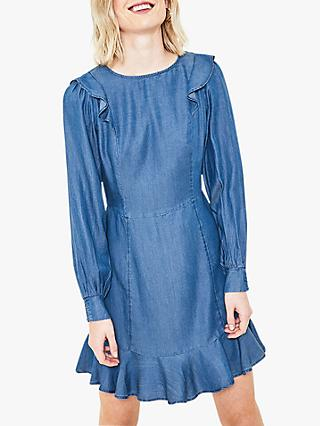 Oasis Denim Skater Dress, Blue