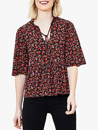 Oasis Crowded Rose Print Tie Neck Blouse, Red/Multi