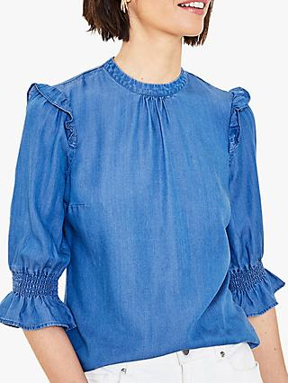 Oasis Ruffle Sleeve Blouse, Denim