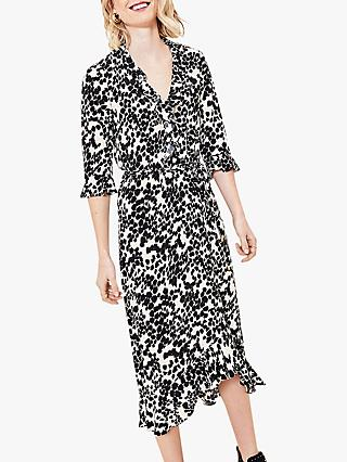 Oasis Smudge Cheetah Print Midi Dress, Multi/Black