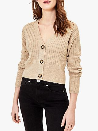 Oasis Cropped Ribbed Cardigan, Neutral